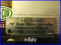 N Scale Con-Cor 4-8-4 Northern Steam locomotive Pennsylvania Cab #8750 NIB
