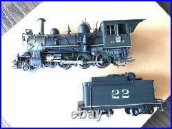 Precision Scale Co. HOn3 Brass RGS #22 4-6-0 Painted & Weathered Pittman Can
