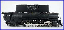 Sunset O Scale Brass Santa Fe 4-8-4 Steam Engine & Tender #3751 With Sound