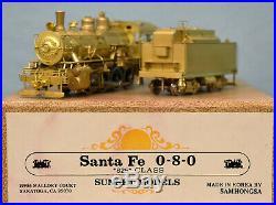 Sunset/Samhongsa Brass HO Scale Santa Fe 825 Class 0-8-0